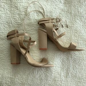 Shoes - Lace-up cream colored thick heeled sandals